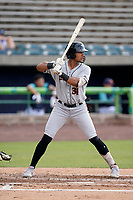 First baseman TT Bowens (31) of the Delmarva Shorebirds in a game against the Lynchburg Hillcats on Wednesday, August 11, 2021, at Bank of the James Stadium in Lynchburg, Virginia. (Tom Priddy/Four Seam Images)