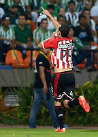 MEDELLIN -COLOMBIA, 5-MARZO-2015. Leonardo Jara  jugador  de Estudiantes de la Plata celebra su gol contra el Atletico Nacional  durante  partido  de La Copa Bridgestone Libertadores grupo siete 2015  jugado en el estadio Atanasio Girardot de la ciudad de Medellin  . / Leonardo Jara  player of Estudiantes de la Plata celebrates his goal against Atletico Nacional during game Bridgestone Libertadores Cup 2015 Group Seven played at the Atanasio Girardot stadium in the city of Medellin.  /  Photo /VizzorImage / Leon Monsalve  / Stringer