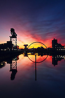 The Finnieston Crane, Clyde Arc reflected in the River Clyde at sunrise, Pacific Quay, Glasgow<br /> <br /> Copyright www.scottishhorizons.co.uk/Keith Fergus 2011 All Rights Reserved