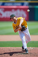 Salt Lake Bees starting pitcher Thomas Pannone (22) throws home during the game against the Las Vegas Aviators at Smith's Ballpark on June 27, 2021 in Salt Lake City, Utah. The Aviators defeated the Bees 5-3. (Stephen Smith/Four Seam Images)