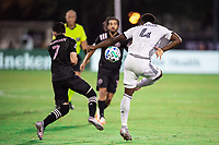 LAKE BUENA VISTA, FL - JULY 14: Lewis Morgan #7 of Inter Miami and Mark McKenzie #4 of the Philadelphia Union battling for the ball during a game between Inter Miami CF and Philadelphia Union at Wide World of Sports on July 14, 2020 in Lake Buena Vista, Florida.