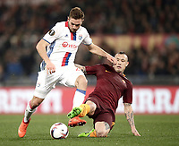 Football Soccer: Europa League Round of 16 second leg, Roma-Lyon, stadio Olimpico, Roma, Italy, March 16,  2017. <br /> Lyon's Lucas Tousart (l) in action with Roma's Radja Naingollan (r) during the Europe League football soccer match between Roma and Lyon at the Olympique stadium, March 16,  2017. <br /> Despite losing 2-1, Lyon reach the quarter finals for 5-4 aggregate win.<br /> UPDATE IMAGES PRESS/Isabella Bonotto