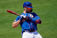 New York Mets Pete Alonso (20) avoids an inside pitch while batting during a Major League Spring Training game against the St. Louis Cardinals on March 19, 2021 at Clover Park in St. Lucie, Florida.  (Mike Janes/Four Seam Images)