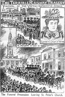 BNPS.co.uk (01202) 558833.<br /> Pic: JanBondeson/HistoryPress/BNPS<br /> <br /> Pictured: The funeral procession of Elizabeth Camp.<br /> <br /> A historian believes he has solved the gruesome 124 year old murder of a barmaid on a London train.<br /> <br /> Elizabeth Camp was travelling to Waterloo station when she was murdered on February 11, 1897.<br /> <br /> The 33 year old's battered body was found by a carriage cleaner with her head wedged underneath a seat and her legs outstretched on the floor.<br /> <br /> Over a century later, historian Dr Jan Bondeson has pored over the evidence in the case, including police files, to try and identify her killer.<br /> <br /> He believes the person responsible for her brutal death was 25 year old Arthur Marshall, the son of a Reading publican, and has outlined his theory in his new book, Rivals of the Ripper.