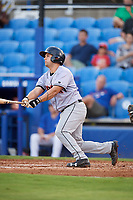 Jupiter Hammerheads catcher Michael Hernandez (27) grounds out during a game against the Dunedin Blue Jays on August 14, 2018 at Dunedin Stadium in Dunedin, Florida.  Jupiter defeated Dunedin 5-4 in 10 innings.  (Mike Janes/Four Seam Images)