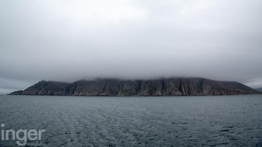 The seabird breeding cliffs of Preobrezhaniya shrouded in fog.