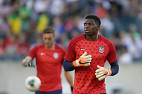 PHILADELPHIA, PENNSYLVANIA - JUNE 30: Sean Johnson #12 during the 2019 CONCACAF Gold Cup quarterfinal match between the United States and Curacao at Lincoln Financial Field on June 30, 2019 in Philadelphia, Pennsylvania.