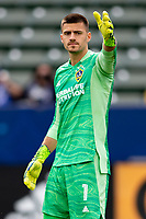 CARSON, CA - APRIL 25: Jonathan Bond #1 of the Los Angeles Galaxy during a game between New York Red Bulls and Los Angeles Galaxy at Dignity Health Sports Park on April 25, 2021 in Carson, California.