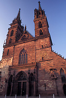 Basel, cathedral, Switzerland, Basle, 12th Century red sandstone Munster Cathedral in Basel-Stadt.