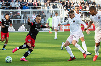 WASHINGTON, DC - MARCH 07: Eric Sorga #50 passes away from Wil Trapp #6 of Inter Miami during a game between Inter Miami CF and D.C. United at Audi Field on March 07, 2020 in Washington, DC.