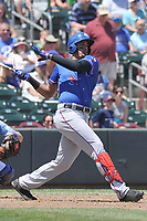 Round Rock Express first baseman Ronald Guzman (31) swings during a game against the Omaha Storm Chasers at Werner Park on May 29, 2017 in Omaha, Nebraska.  Omaha won 10-8.  (Dennis Hubbard/Four Seam Images)