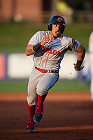 Florida Fire Frogs Rusber Estrada (12) running the bases during a Florida State League game against the St. Lucie Mets on April 12, 2019 at First Data Field in St. Lucie, Florida.  Florida defeated St. Lucie 10-7.  (Mike Janes/Four Seam Images)