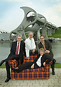 05/08/2004   Copyright Pic: James Stewart.File Name : jspa08_yerbury.PHOTOGRAPHER TREVOR YERBURY EMBARKS ON HIS SCOTLAND'S PEOPLE EXHIBITION AT THE FALKIRK WHEEL WITH HIS TARTAN SOFA AND THE HELP OF THE CANDIDATES FOR THE SNP LEADERSHIP, MIKE RUSSELL, ROSESANA CUNNINGHAM AND ALEX SALMOND......Payments to :.James Stewart Photo Agency 19 Carronlea Drive, Falkirk. FK2 8DN      Vat Reg No. 607 6932 25.Office     : +44 (0)1324 570906     .Mobile  : +44 (0)7721 416997.Fax         :  +44 (0)1324 570906.E-mail  :  jim@jspa.co.uk.If you require further information then contact Jim Stewart on any of the numbers above.........