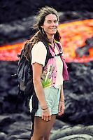 Hiking along active lava flows from Kilauea, Hawaii Volcanoes National Park, Big island of Hawaii