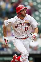 Nebraska Cornhuskers first baseman Scott Schreiber (11) runs to first base during the NCAA baseball game against the Hawaii Rainbow Warriors on March 7, 2015 at the Houston College Classic held at Minute Maid Park in Houston, Texas. Nebraska defeated Hawaii 4-3. (Andrew Woolley/Four Seam Images)