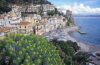 The coastal village of Cetara built on the coastal cliffs of the Tyrrhenian Sea, Italy.