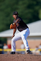 Batavia Muckdogs relief pitcher Elkin Alcala (28) delivers a pitch during a game against the West Virginia Black Bears on July 1, 2018 at Dwyer Stadium in Batavia, New York.  Batavia defeated West Virginia 8-4.  (Mike Janes/Four Seam Images)