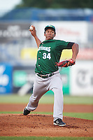 Daytona Tortugas starting pitcher Keury Mella (34) delivers a warmup pitch during a game against the Tampa Yankees on August 5, 2016 at George M. Steinbrenner Field in Tampa, Florida.  Tampa defeated Daytona 7-1.  (Mike Janes/Four Seam Images)