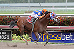 March 29, 2014: #11 Micromanage (KY) with jockey Javier Castellano on board wins the Skip Away G3 over #9 Norumbega, who placed and Sr. Quisqueyano took third at Gulfstream Park in Hallandale Beach, FL. Liz Lamont/ESW/CSM