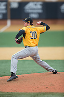Towson Tigers relief pitcher Matt Allen (30) in action against the Wake Forest Demon Deacons at Wake Forest Baseball Park on March 1, 2015 in Winston-Salem, North Carolina.  The Demon Deacons defeated the Tigers 15-8.  (Brian Westerholt/Four Seam Images)