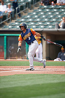Carlos Pèrez (3) of the Las Vegas Aviators at bat against the Salt Lake Bees at Smith's Ballpark on July 25, 2021 in Salt Lake City, Utah. The Aviators defeated the Bees 10-6. (Stephen Smith/Four Seam Images)