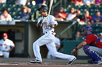 Rochester Red Wings shortstop Pedro Florimon (31) at bat during the second game of a doubleheader against the Buffalo Bisons on July 6, 2014 at Frontier Field in Rochester, New  York.  Rochester defeated Buffalo 6-1.  (Mike Janes/Four Seam Images)