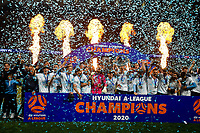 30th August 2020. Sydney, Australia;  Players and staff members of Sydney FC celebrate during the awards ceremony for the 2019/2020 season A-League in Sydney, Australia. Sydney FC claimed a historic fifth A-League crown after beating Melbourne City 1-0 in the Grand Final of A-League on Sunday night.