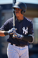 New York Yankees Leobaldo Cabrera (14) during a Minor League Spring Training game against the Detroit Tigers on March 21, 2018 at the New York Yankees Minor League Complex in Tampa, Florida.  (Mike Janes/Four Seam Images)