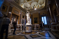 """Rome, 03/03/2019. Vising and documenting the Galleria Borghese (Borghese Gallery, 1.) located in Rome's Villa Borghese. «The Galleria Borghese Museum houses and displays a collection of ancient sculptures, bas-reliefs, and mosaics, as well as paintings and sculptures dating from the 15th through the 19th centuries. Among the masterpieces of the collection – the first and most important part of which goes back to the collecting of Cardinal Scipione Borghese (1579-1633), nephew of Pope Paul V [the Pope responsible for renewing the facade of Saint Peter's Basilica, 2. ndr] – are paintings by Caravaggio, Raphael, Titian, Correggio, Antonello da Messina, and Giovanni Bellini and sculptures by Gian Lorenzo Bernini and Canova. The works are displayed in the 20 frescoed rooms that, together with the portico and the entrance hall, constitute the spaces of the Museum open to the public. More than 260 paintings are housed in the storerooms of the Galleria Borghese, which are located above the floor of the Pinacoteca and set up like a picture gallery […]» (3.). The Galleria Borghese's collection includes artworks by: Gian Lorenzo Bernini, Agnolo Bronzino, Antonio Canova, Caravaggio, Raffaello (Raphael), Perugino, Lorenzo Lotto, Antonello da Messina, Cranach, Annibale Carracci, Pieter Paul Rubens, Bellini, Tiziano (Titian).<br /> This visit was possible thanks to the company of Artist and Curator, Flavio Marzadro and the Italian State initiative: """"Domeniche al Museo"""" (Sunday at the Museum, 4.).<br /> <br /> Footnotes & Links:<br /> 1. https://galleriaborghese.beniculturali.it/en/<br /> 2. http://tiny.cc/qin7mz<br /> 3. https://galleriaborghese.beniculturali.it/en/il-museo/<br /> 4. http://musei.beniculturali.it/en/eventi/domenicalmuseo<br /> (Source, Wikipedia.org, ENG & ITA) https://en.wikipedia.org/wiki/Galleria_Borghese & https://it.wikipedia.org/wiki/Galleria_Borghese"""