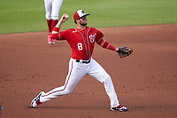 Washington Nationals third baseman Carter Kieboom (8) throws to first base during a Major League Spring Training game against the Miami Marlins on March 20, 2021 at FITTEAM Ballpark of the Palm Beaches in Palm Beach, Florida.  (Mike Janes/Four Seam Images)