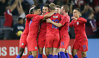 ORLANDO, FL - NOVEMBER 15: Aaron Long #3 of the United States scores a goal and celebrates with teammate Tim Ream #13 and the USMNT during a game between Canada and USMNT at Exploria Stadium on November 15, 2019 in Orlando, Florida.