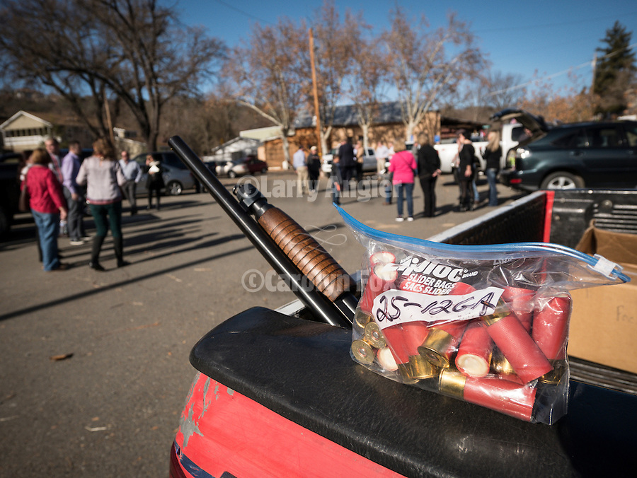 """Serbians bring out the shot guns to blast away in honor of the birth of Christ during Christmas in Jackson, Calif.<br /> <br /> A tradition brought from the old county, the firing of guns was a way for villagers in the old country to spread greetings from village to village before telephones and automobiles. Today, that tradition continues here in Jackson, California, home of the first Serbian Orthodox Church in the western hemisphere. <br /> <br /> Though many who participate are """"Serbian"""" for a day, most are descendants of the miners who came in the 1800s to find their fortune in the gold mines of the west. Their grand fathers and great grandfathers left the old country years before."""