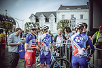 Groupama-FDJ team at sign on before the 2018 Liege-Bastogne-Liege Femmes running 136km from Bastogne to Ans, Belgium. 22nd April 2018.<br /> Picture: ASO/Thomas Maheux | Cyclefile<br /> All photos usage must carry mandatory copyright credit (© Cyclefile | ASO/Thomas Maheux)