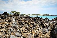 Hiking path through the rough lava, Mahaiulas beach, Kahekai State Park, Kailua Kona, Hawaii, The Big Island of Hawaii