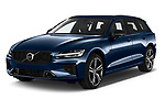 2021 Volvo V60 R-Design 5 Door Wagon Angular Front automotive stock photos of front three quarter view