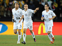 Landon Donovan of USA celebrates scoring his side's second goal. USA leads Brazil 2-0 after the first half during the FIFA Confederations Cup Final at Ellis Park Stadium in Johannesburg, South Africa on June 28, 2009..