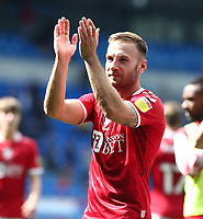 28th August 2021; Cardiff City Stadium, Cardiff, Wales;  EFL Championship football, Cardiff versus Bristol City; Andreas Weimann of Bristol City applauds the travelling supporters