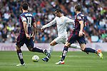 Real Madrid's Cristiano Ronaldo and Sociedad Deportiva Eibar's  Dani Garcia and Gonzalo Escalante during La Liga match. April 09, 2016. (ALTERPHOTOS/Borja B.Hojas)