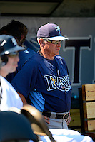Tampa Bay Rays manager Joe Madden #79 in the dugout during a Spring Training game against the Detroit Tigers at Joker Marchant Stadium on March 29, 2013 in Lakeland, Florida.  (Mike Janes/Four Seam Images)
