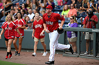 Starting pitcher Jay Groome (28) of the Greenville Drive is introduced in a game against the Charleston RiverDogs on Friday, July 28, 2017, at Fluor Field at the West End in Greenville, South Carolina. Charleston won, 6-1. (Tom Priddy/Four Seam Images)