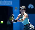 Eugenie Bouchard (CAN) loses to Na Li (CHN)  6-2, 6-4 at the Australian Open in Melbourne Australia on January 23, 2014