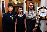 "WATERBURY,  CT-011820JS26- Samaia Brantley, 13, Destinee Hendricks, 11, and Nadia French-Graham, 18, were the greeters at the ""Men with a Purpose"" luncheon, a Dr. Martin Luther King, Jr. event celebrating men, at Grace Baptist Church in Waterbury. The event was sponsored by the Waterbury NAACP Youth Council.<br /> Jim Shannon Republican-American"