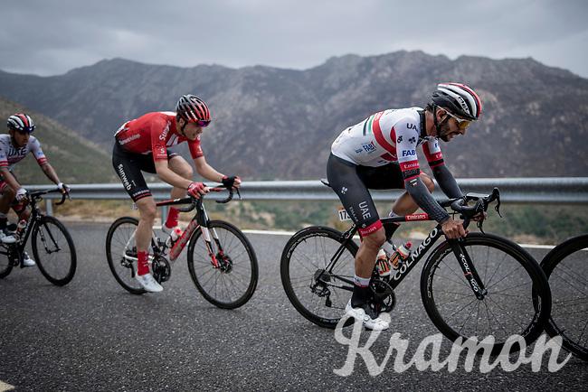 Fernando Gaviria (COL/UAE-Emirates) is one of the very last up the first categorised climb (out of 6) of the day: the Puerto de Bernardo<br /> <br /> Stage 20: Arenas de San Pedro to Plataforma de Gredos (190km)<br /> La Vuelta 2019<br /> <br /> ©kramon
