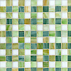 Bonnie, a jewel glass mosaic field shown in Absolute white, Peridot, Jade and Emerald.