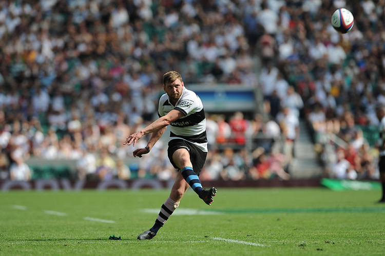 Finn Russell (Glasgow Warriors & Scotland) of Barbarians converts his own try during the Quilter Cup match between England and Barbarians at Twickenham Stadium on Sunday 27th May 2018 (Photo by Rob Munro/Stewart Communications)