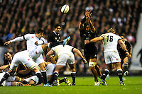 Ben Youngs of England sends up a box kick during the QBE Autumn International match between England and New Zealand at Twickenham on Saturday 16th November 2013 (Photo by Rob Munro)