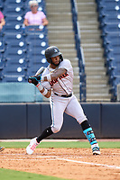 Jupiter Hammerheads Monte Harrison (3) bats during a game against the Tampa Tarpons on July 2, 2021 at George M. Steinbrenner Field in Tampa, Florida.  (Mike Janes/Four Seam Images)