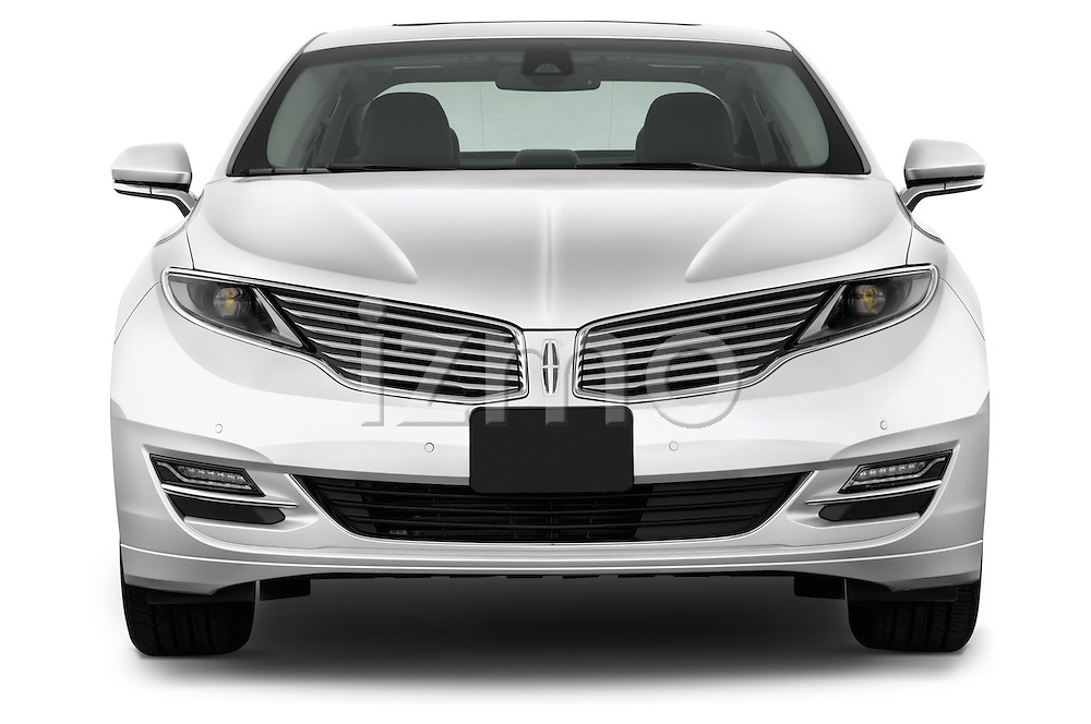 Straight front view of a 2013 Lincoln MKZ Hybrid Sedan