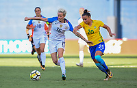 San Diego, CA - Sunday July 30, 2017: Megan Rapinoe, Camila during a 2017 Tournament of Nations match between the women's national teams of the United States (USA) and Brazil (BRA) at Qualcomm Stadium.