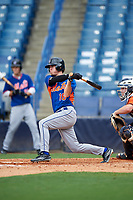 Cal Jones (18) of Dadeville High School in Dadeville, Alabama playing for the New York Mets scout team during the East Coast Pro Showcase on July 28, 2015 at George M. Steinbrenner Field in Tampa, Florida.  (Mike Janes/Four Seam Images)